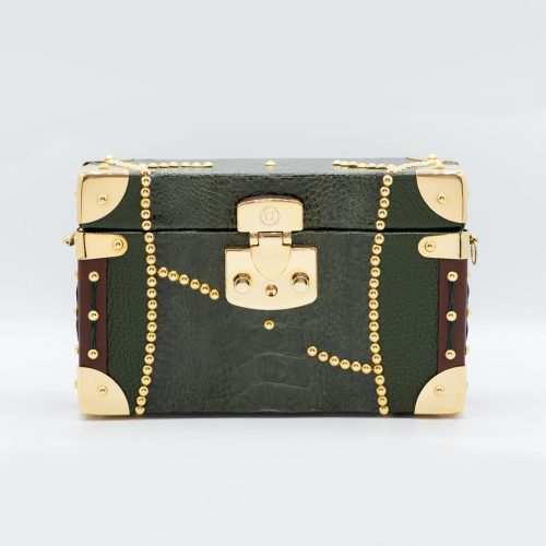 Luis Negri Angels of Venus Box Bag Genuine Green Ostrich Paw and Green and Brown Deer Leather