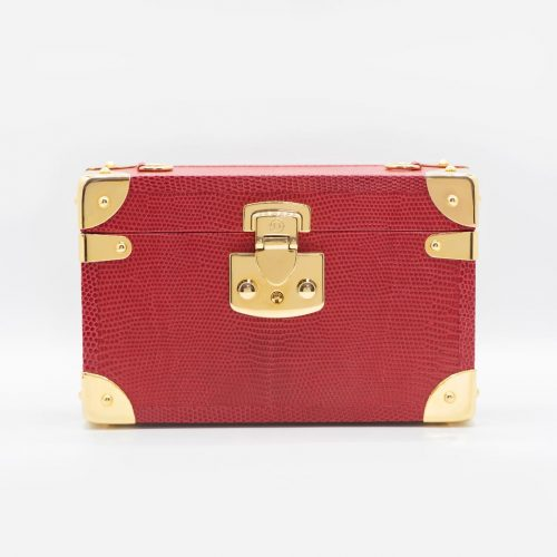 Luis Negri Angels of Venus Box Bag Genuine Red Varanus Lizart Leather