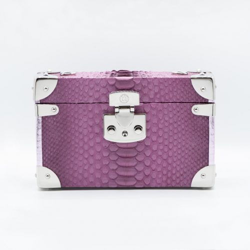Luis Negri Femme Fatale Box Bag Genuine Purple Phyton Leather
