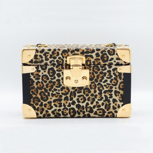 Luis Negri Fiery Soul Box Bag Genuine Animal Print and Black Calf Leather