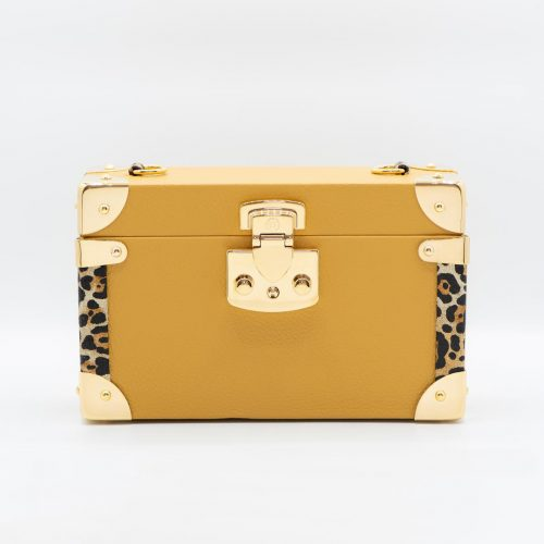 Luis Negri Fiery Soul Box Bag Genuine Mustard and Animal Print Calf Leather