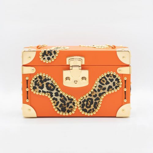 Luis Negri Fiery Soul Box Bag Genuine Orange and Animal Print Calf Leather