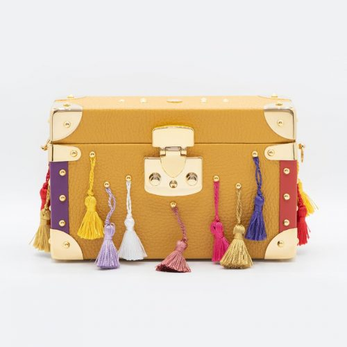 Luis Negri Joyful Rio Box Bag Genuine Mustard Deer Leather and Multicoloured Tassels