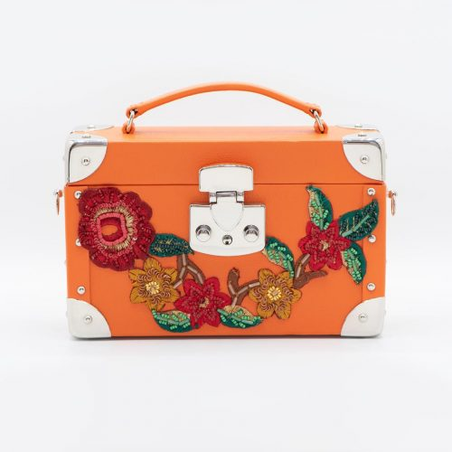 Luis Negri Joyful Rio Box Bag Genuine Orange Calf Leather and Multicoloured Flowers Embroidery