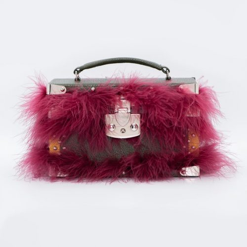 Luis Negri Living Out a Fantasy Box Bag Genuine Green and Mustard Deer Leather and Burgundy Marabou Feathers