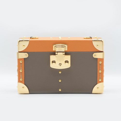 Luis Negri Natural Seduction Box Bag Genuine Taupe and Orange Calf Leather