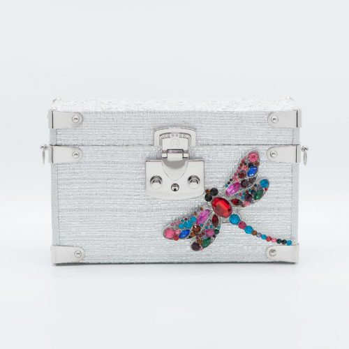 Luis Negri Premiere Night Box Bag Silver Tweed and Multicoloured Gems Dragon Fly