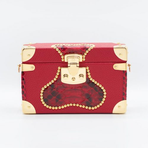 Luis Negri Toxic Belle Box Bag Genuine Red Deer and Phyton Leather