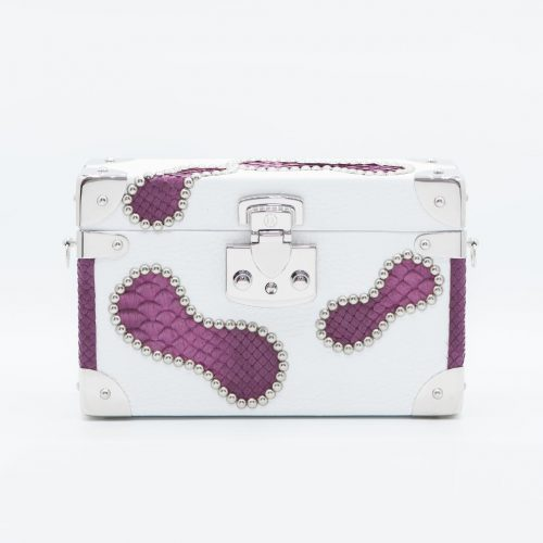 Luis Negri Toxic Belle Box Bag Genuine White Deer and Violet Phyton Leather