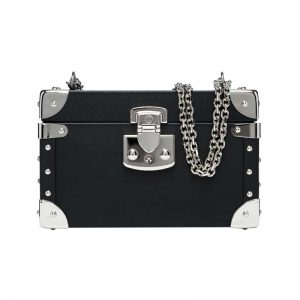 luis negri classic bauletto box bag black web silver