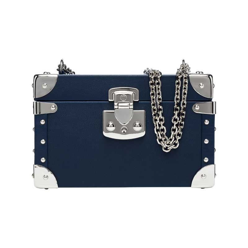 luis negri classic bauletto box bag blue web silver