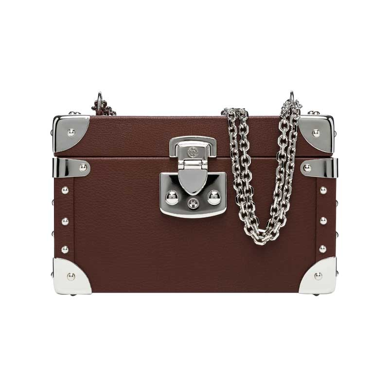 luis negri classic bauletto box bag brown web silver