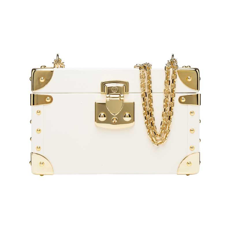 luis negri classic bauletto box bag cream web gold