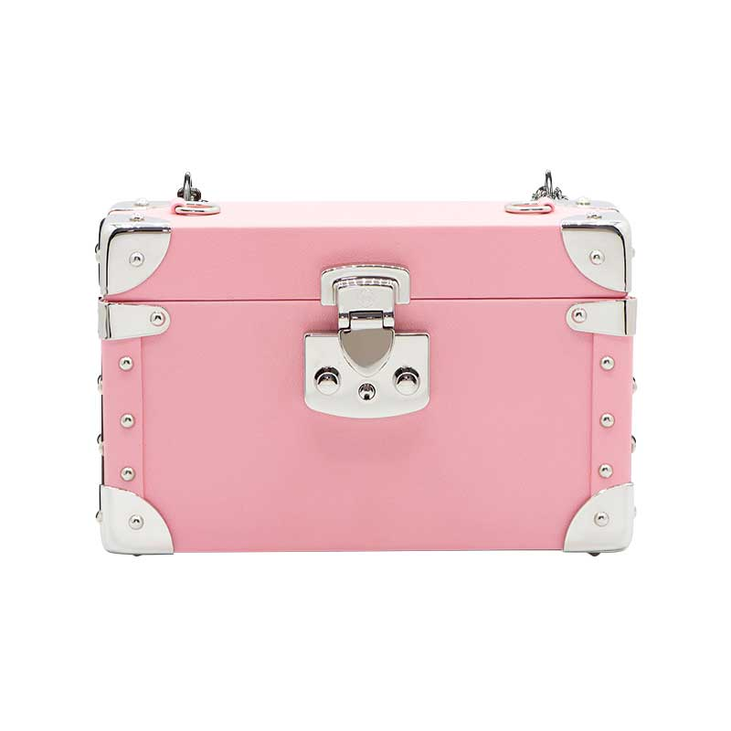 luis negri classic bauletto box bag creme pink web silver