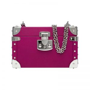 luis negri classic bauletto box bag fuchsia web silver