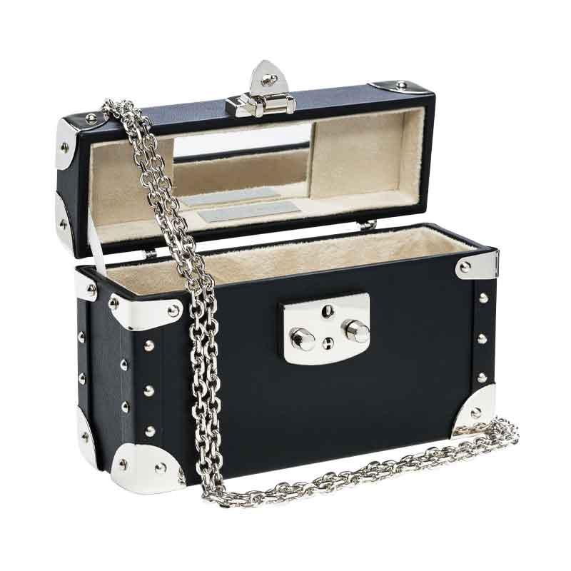 luis negri classic bauletto box bag interior black web silver