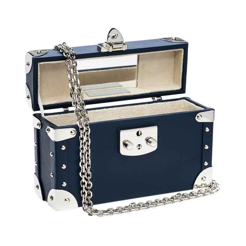 luis negri classic bauletto box bag interior blue web silver