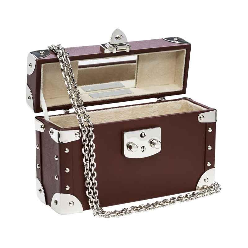 luis negri classic bauletto box bag interior brown web silver