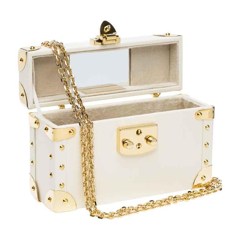 luis negri classic bauletto box bag interior cream web gold