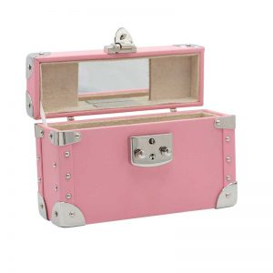 luis negri classic bauletto box bag interior creme pink web silver