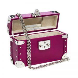 luis negri classic bauletto box bag interior fuchsia web silver