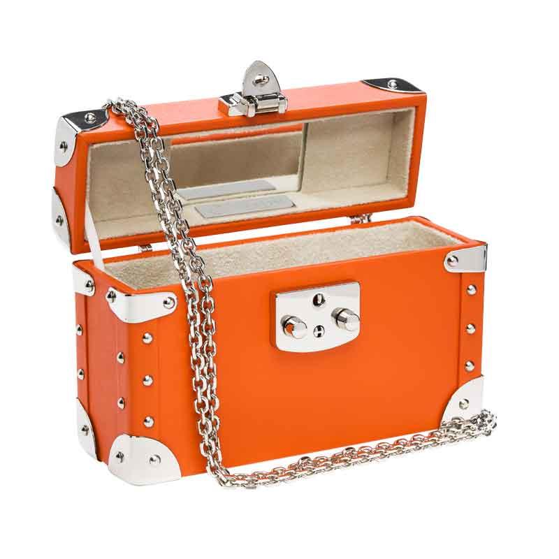 luis negri classic bauletto box bag interior orange web silver