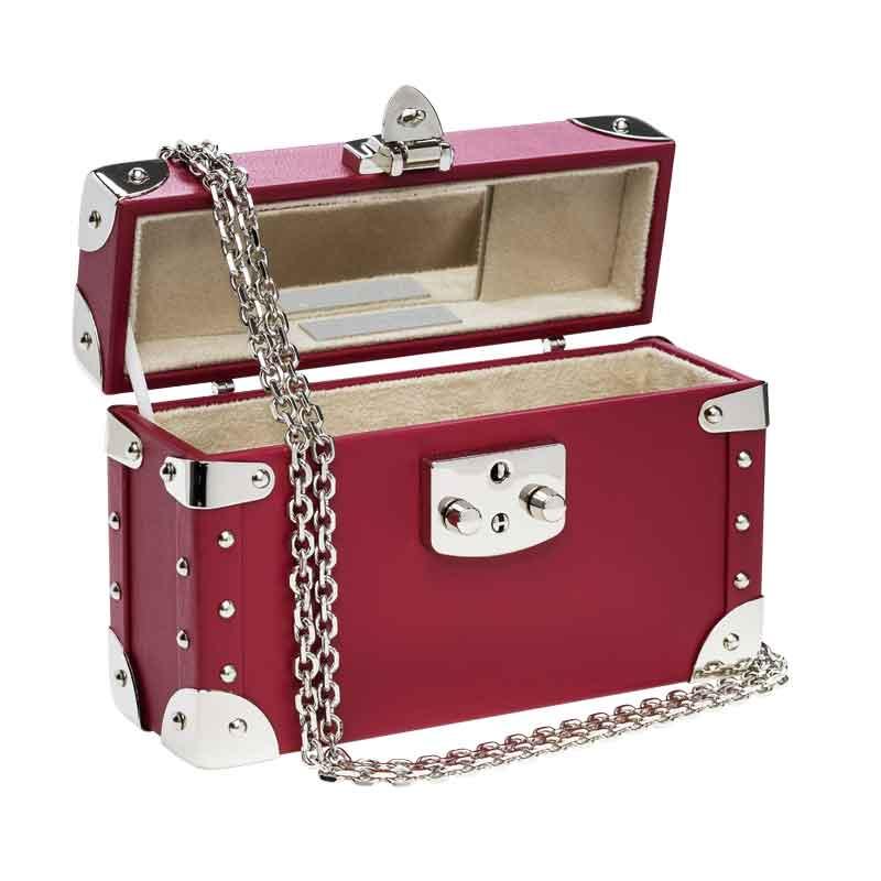 luis negri classic bauletto box bag interior red velvet web silver