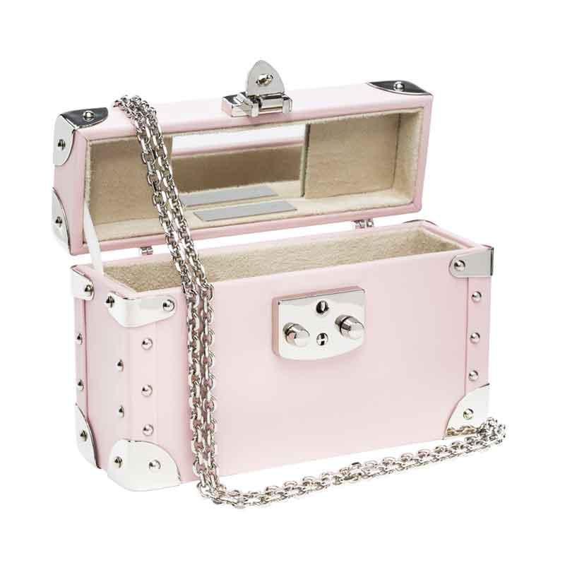 luis negri classic bauletto box bag interior soft pink web silver