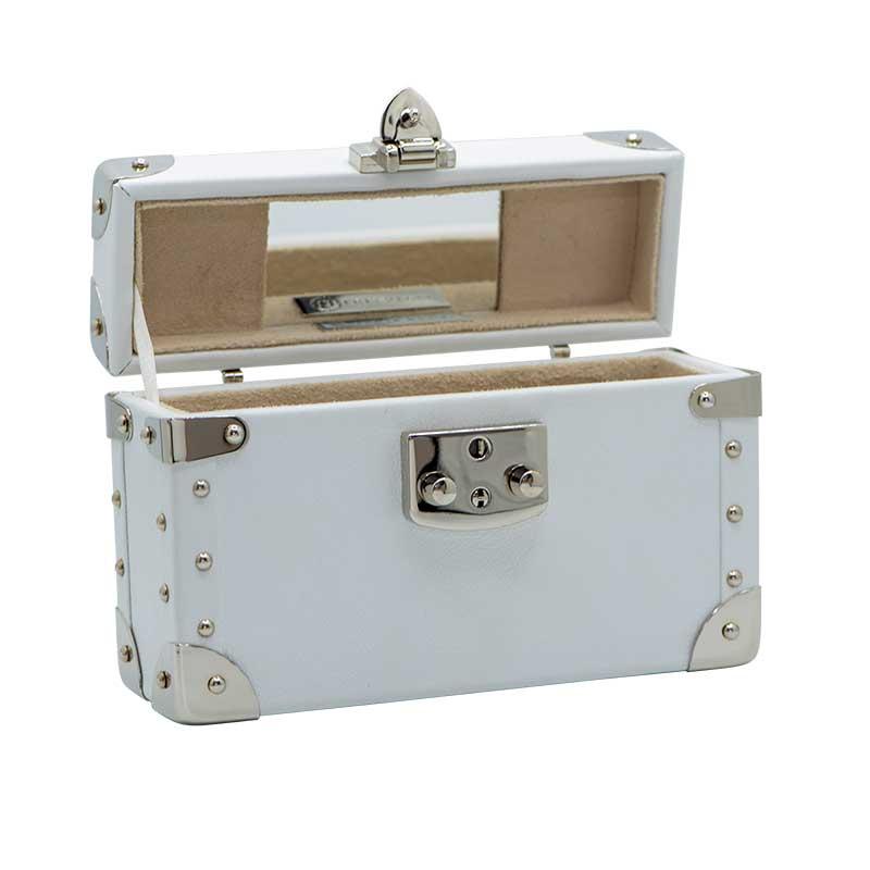 luis negri classic bauletto box bag interior white web silver
