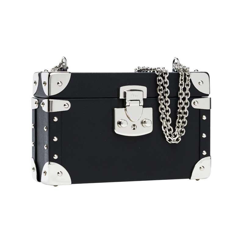 luis negri classic bauletto box bag lateral black web silver