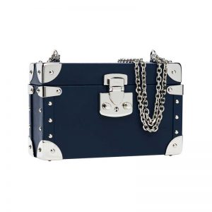 luis negri classic bauletto box bag lateral blue web silver