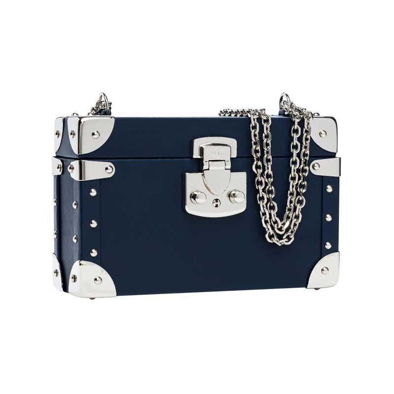 luis negri classic bauletto box bag lateral blue web silver