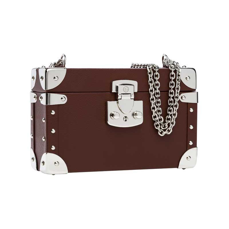 luis negri classic bauletto box bag lateral brown web silver