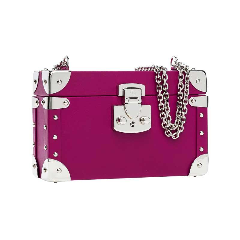 luis negri classic bauletto box bag lateral fuchsia web silver