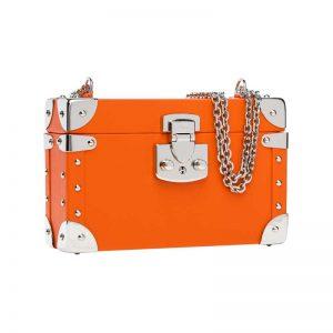 luis negri classic bauletto box bag lateral orange web silver