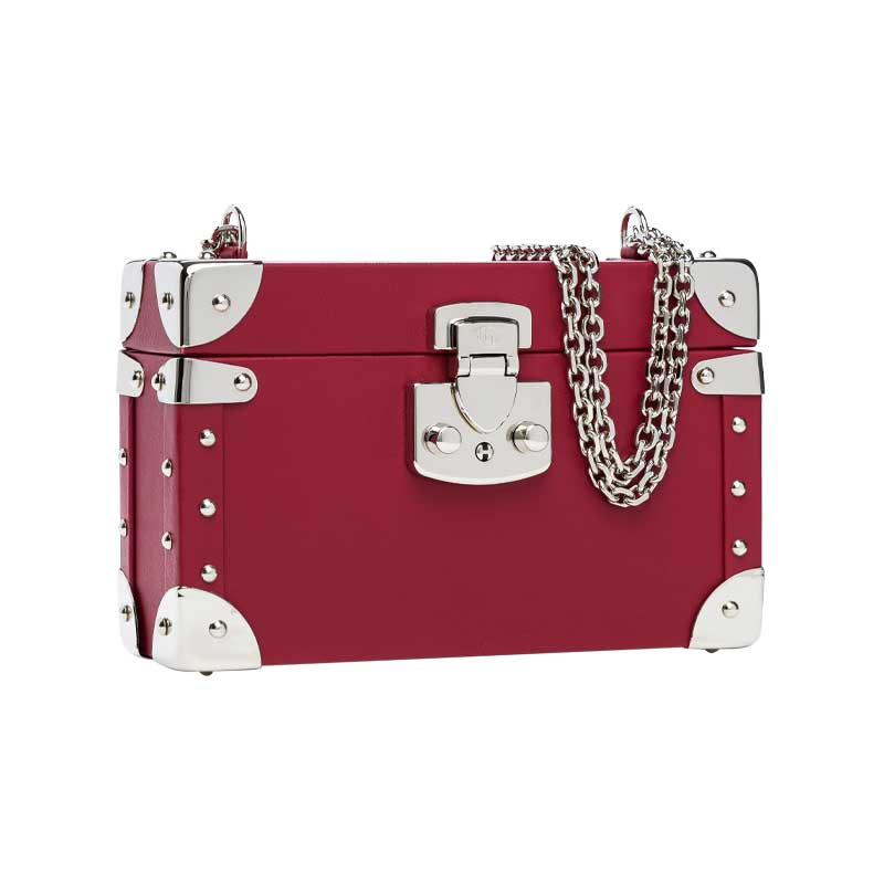 luis negri classic bauletto box bag lateral red velvet web silver
