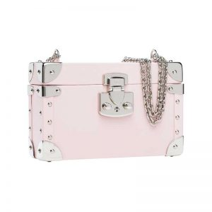 luis negri classic bauletto box bag lateral soft pink web silver
