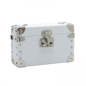 luis negri classic bauletto box bag lateral white web silver