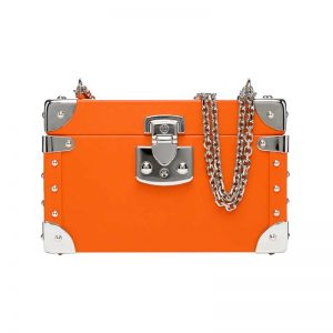 luis negri classic bauletto box bag orange web silver