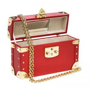 luis negri classic bauletto box bag red interior web gold