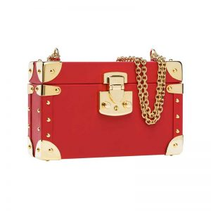 luis negri classic bauletto box bag red lateral web gold