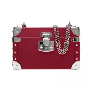 luis negri classic bauletto box bag red velvet web silver