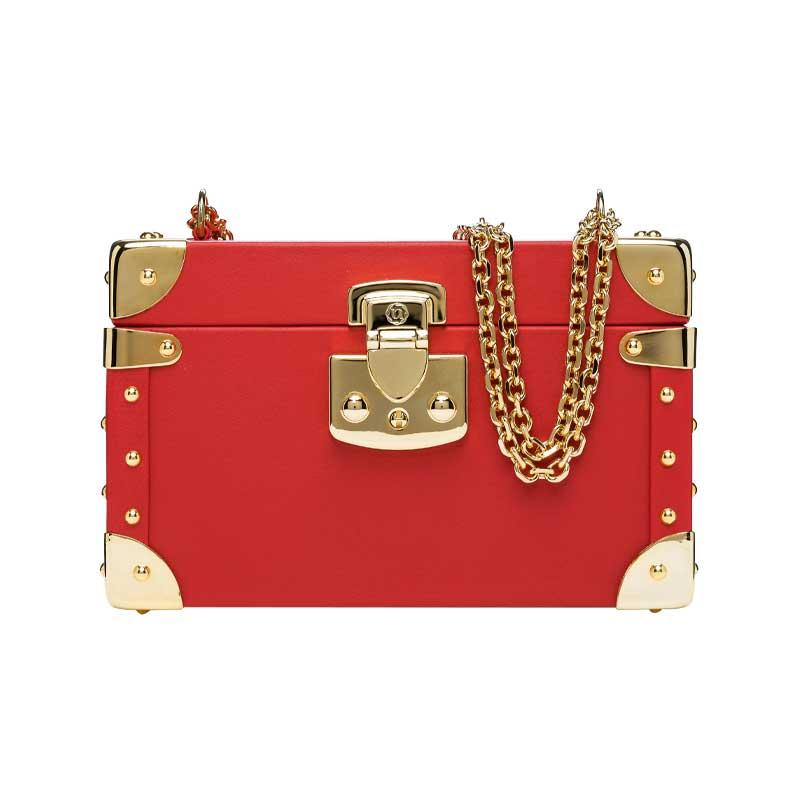 luis negri classic bauletto box bag red web gold