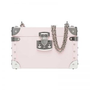 luis negri classic bauletto box bag soft pink web silver