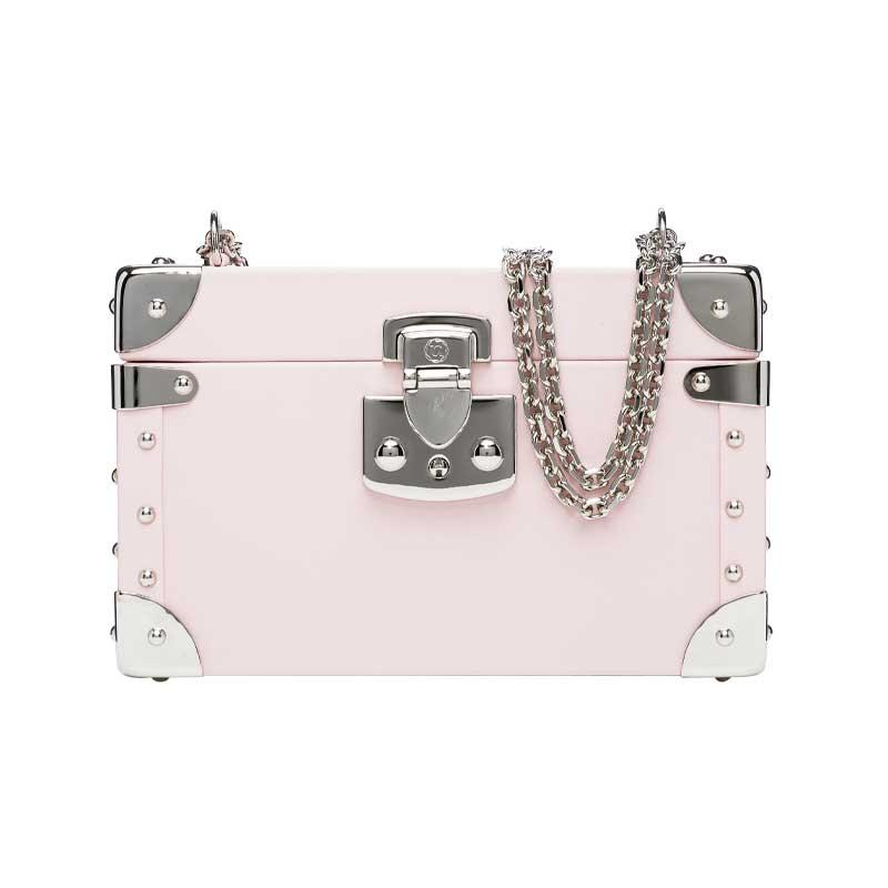 luis negri classic bauletto box bag soft pink web silver