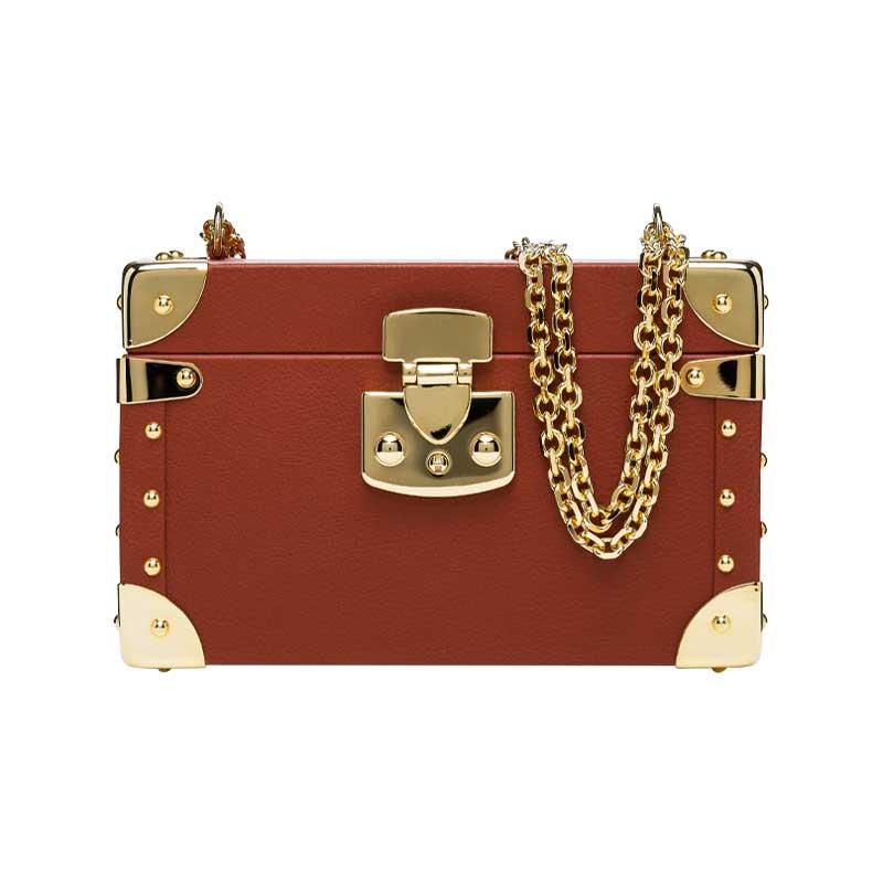 luis negri classic bauletto box bag terracota web gold