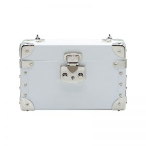 luis negri classic bauletto box bag white web silver