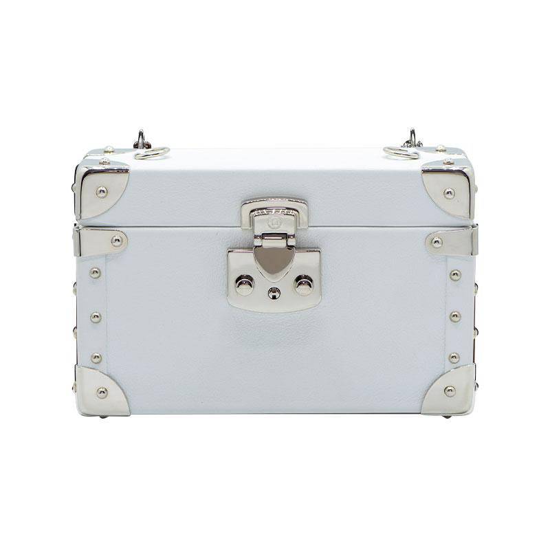 luis negri classic bauletto box bag white web silver