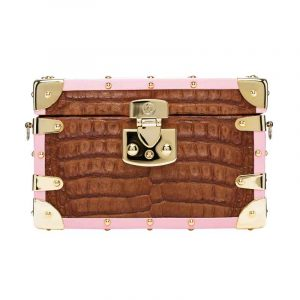 luis negri once in a lifetime box bag elite brown alligator  pink